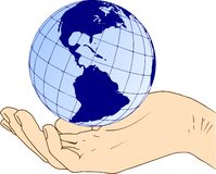 Western hemisphere of the planet earth in hand. Western hemisphere globe of the planet earth in hand - America, world in hand stock illustration