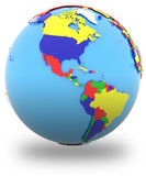 Western hemisphere on the globe. Political map of Americas with countries in four colours, isolated on white background vector illustration