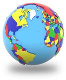 Western hemisphere on the globe Stock Photos