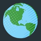 Western hemisphere on globe with USA placing on planet Earth. In comic style stock illustration