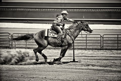 Western Horse Pole Bender in Gritty Sepia. Western horse and rider competing in pole bending and barrel racing competition. Gritty look with sepia toning Royalty Free Stock Photography