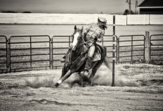 Western Horse Pole Bender in Gritty Sepia Royalty Free Stock Photos