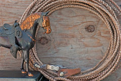 Western horse statue rope spur message board Stock Photography