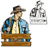 Western illustration series. Vector illustration of a cowboy, holding a lasso. EPS file available Royalty Free Stock Images