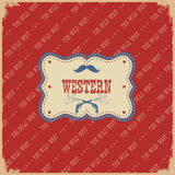 Western label background.Vector wild west illustration with text Royalty Free Stock Images