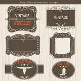 Western labels.Vector antique frames for design. Western vintage labels.Vector frames background with text Royalty Free Stock Photos