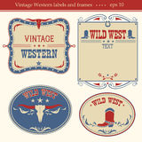 Western labels.Vector symbols and boards for text Stock Image