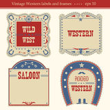 Western labels.Vector symbols and boards  on white Royalty Free Stock Image