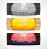 Western landscape banners Royalty Free Stock Photo