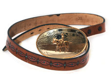 Western leather belt buckle Stock Image