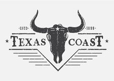 Western logo with bull skull. Typography prints vector design for t-shirt or other wear Stock Photography