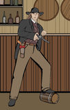 Western man with gun standing in saloon royalty free illustration