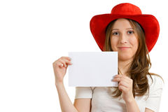 Western marketing. Girl in a red hat holding a sheet of paper Royalty Free Stock Images