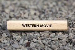 WESTERN-MOVIE - изображение при слова связанные с КИНО темы, слово, изображение, иллюстрация стоковая фотография