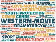 WESTERN-MOVIE - изображение при слова связанные с КИНО темы, слово, изображение, иллюстрация стоковое фото rf