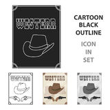 Western movie icon in cartoon style isolated on white background.   Stock Photo