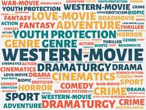 WESTERN-MOVIE - image with words associated with the topic MOVIE, word, image, illustration royalty free stock photo
