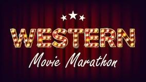 Western Movie Marathon Sign Vector. Theater Cinema Golden Illuminated Neon Light. For Festive Design. Classic. Western Movie Marathon Sign Vector. Theater Cinema Stock Images