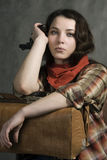 In a western movie style. Portrait of a cowgirl. Western movie style Royalty Free Stock Images