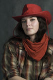 In a western movie style. American cowgirl in a hat. Western movie style Stock Images