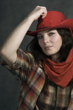 In a western movie style. American cowgirl in a western movie style Stock Photo