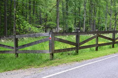 Western NC horse fenced pasture. And field stock image