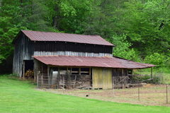 Western NC Mountain Barn and Garden. Western NC rural mountain barn and garden stock photography