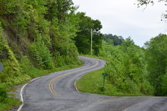 Western NC mountain road. Western NC rural country mountain winding road Stock Image