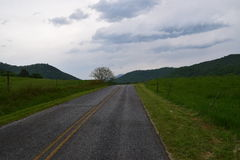 Western NC mountain rural road. Western NC mountain rural farm road stock image