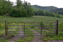 Western NC rural country gated farm field. And fence stock photography