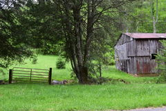 Western NC rural country mountain farm barn. With gated entrance royalty free stock photos