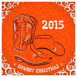 Western New Year with cowboy boots and western hat Stock Photos
