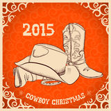 Western New Year with western boots and western hat Stock Images