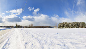 Western New York Winter. Snow covered, abandoned farm buildings in a wintery Western New York landscape stock photos