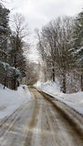 Western New York Winter. Snowy road winds through trees covered in about six inches of fresh fallen snow in Western New York. The road has been salted and sanded Royalty Free Stock Photo