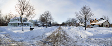Western New York Winter. Typical neighborhood after six inches of snow fell overnight stock image