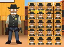 Western Old Sheriff Cartoon Character Emotions Royalty Free Stock Images