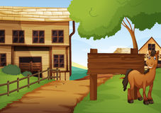 Western old town with horse by the road. Illustration vector illustration
