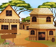 Western old town with houses and shops. Illustration royalty free illustration