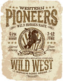 Western pioneers rodeo. Vector artwork for t shirt grunge effect in separate layer royalty free illustration