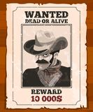 Western placard on old parchment. Wanted wild bandit. Vector poster. Wanted bandit paper, vector illustration Royalty Free Stock Image