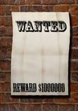 Western poster. Wanted!Reward $1000000 stock photos