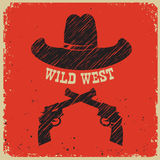 Western poster background with cowboy hat on red paper Royalty Free Stock Images