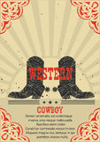 Western poster Cowboy boots background. Stock Photography