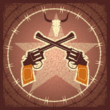 WEstern poster with guns and bull skull Stock Images