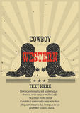 Western poster for text Cowboy boots background. Royalty Free Stock Photo