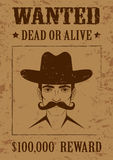 Western  poster, wanted dead or alive,. Vintage cowboy face Royalty Free Stock Images