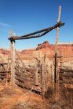 Western Ranch Gate. Vertical image of old western ranch gate in Indian Creek Utah Stock Photo