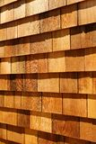 Western red cedar wood shingles - wall siding. Western red cedar wood shingles (Blue Label - air dried) installed on wall with light oil based stain finish Stock Photos