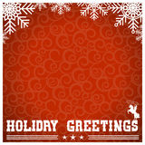 Western red christmas card with text and snowflakes for design Royalty Free Stock Photography